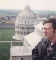 At the top of the Leaning Tower of Pisa. April 1986.